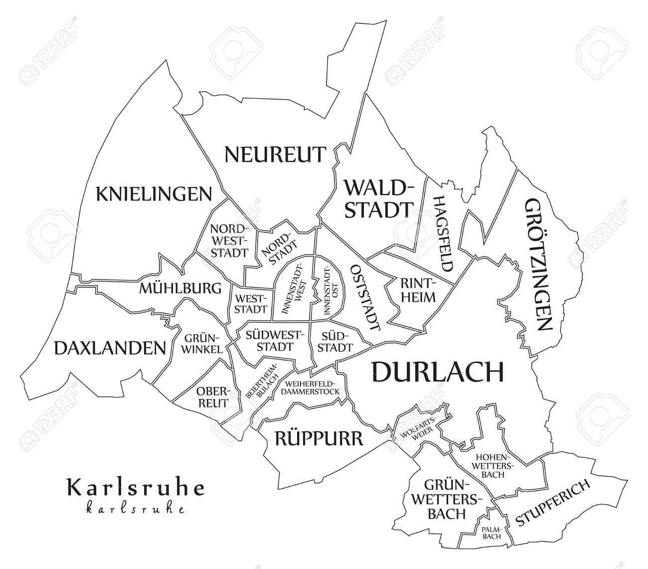 Moderne Stadtplan Karlsruhe Stadt Von Deutschland Mit Bezirken