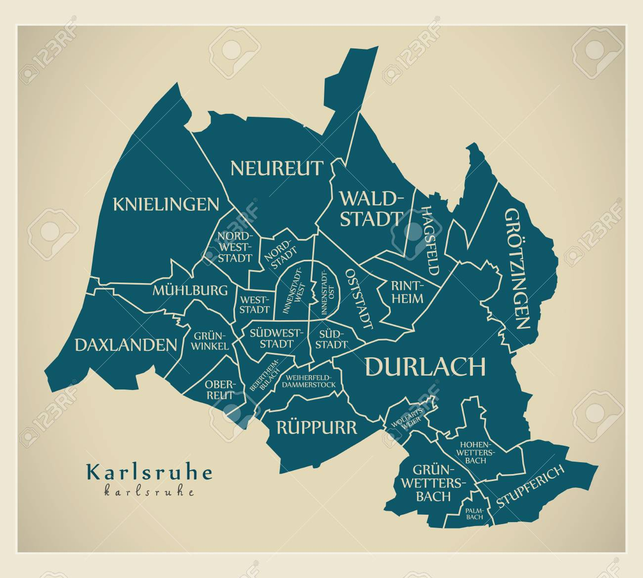 Modern City Map Karlsruhe City Of Germany With Boroughs And