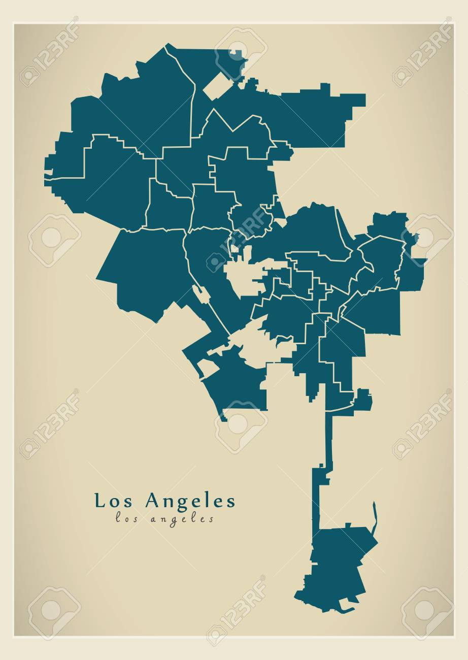 Usa map los angeles los angeles city over a road map usa los modern city map los angeles city of the usa with boroughs stock vector 86220608 sciox Choice Image
