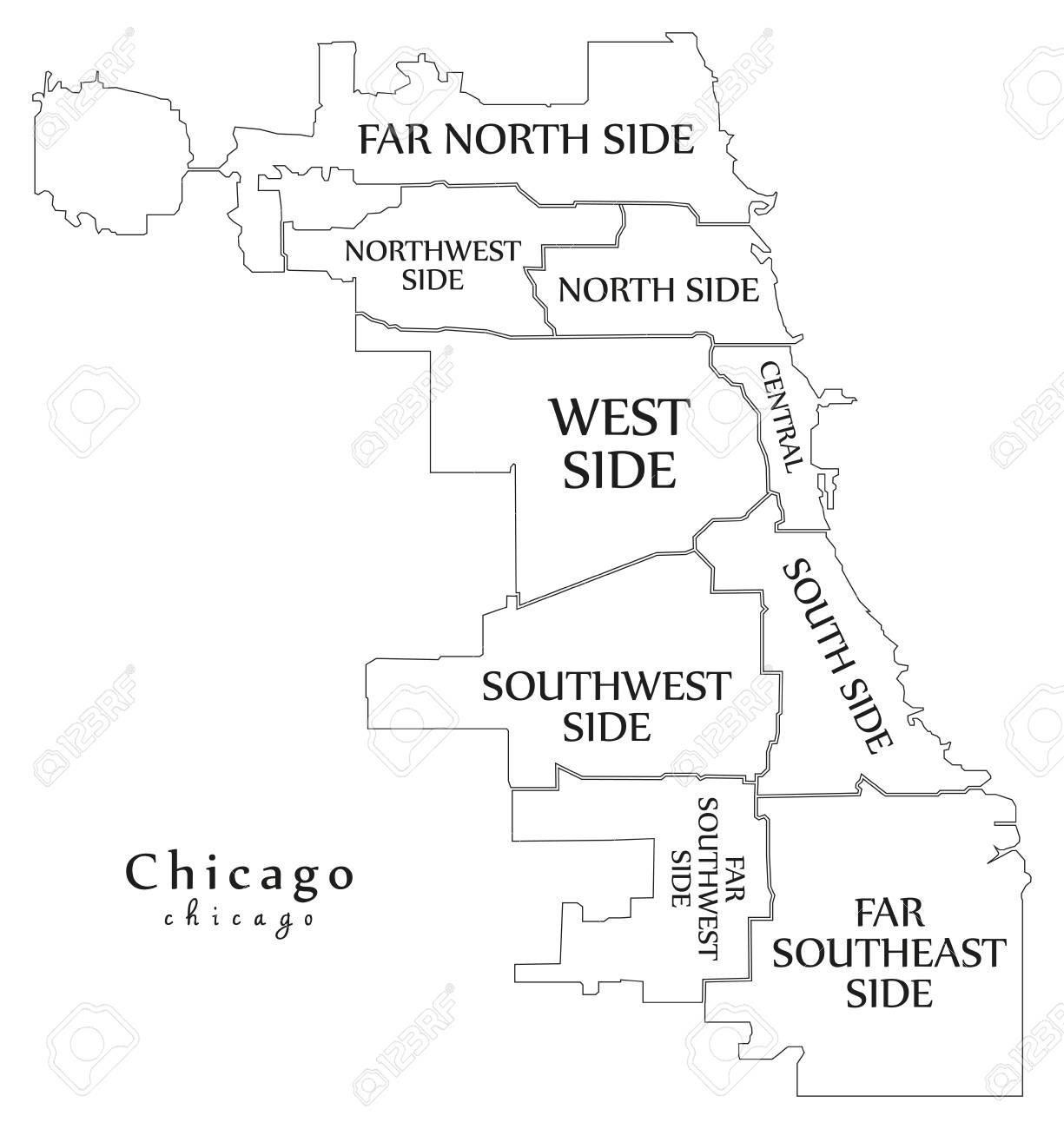 Chicago Boroughs Map Modern City Map Chicago With Boroughs And Titles Royalty Free