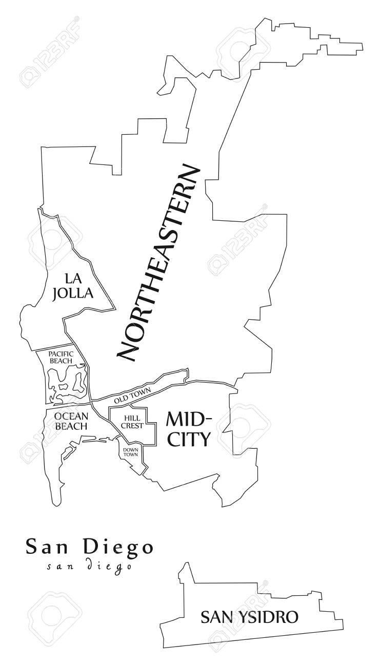 Modern City Map - San Diego city of the USA