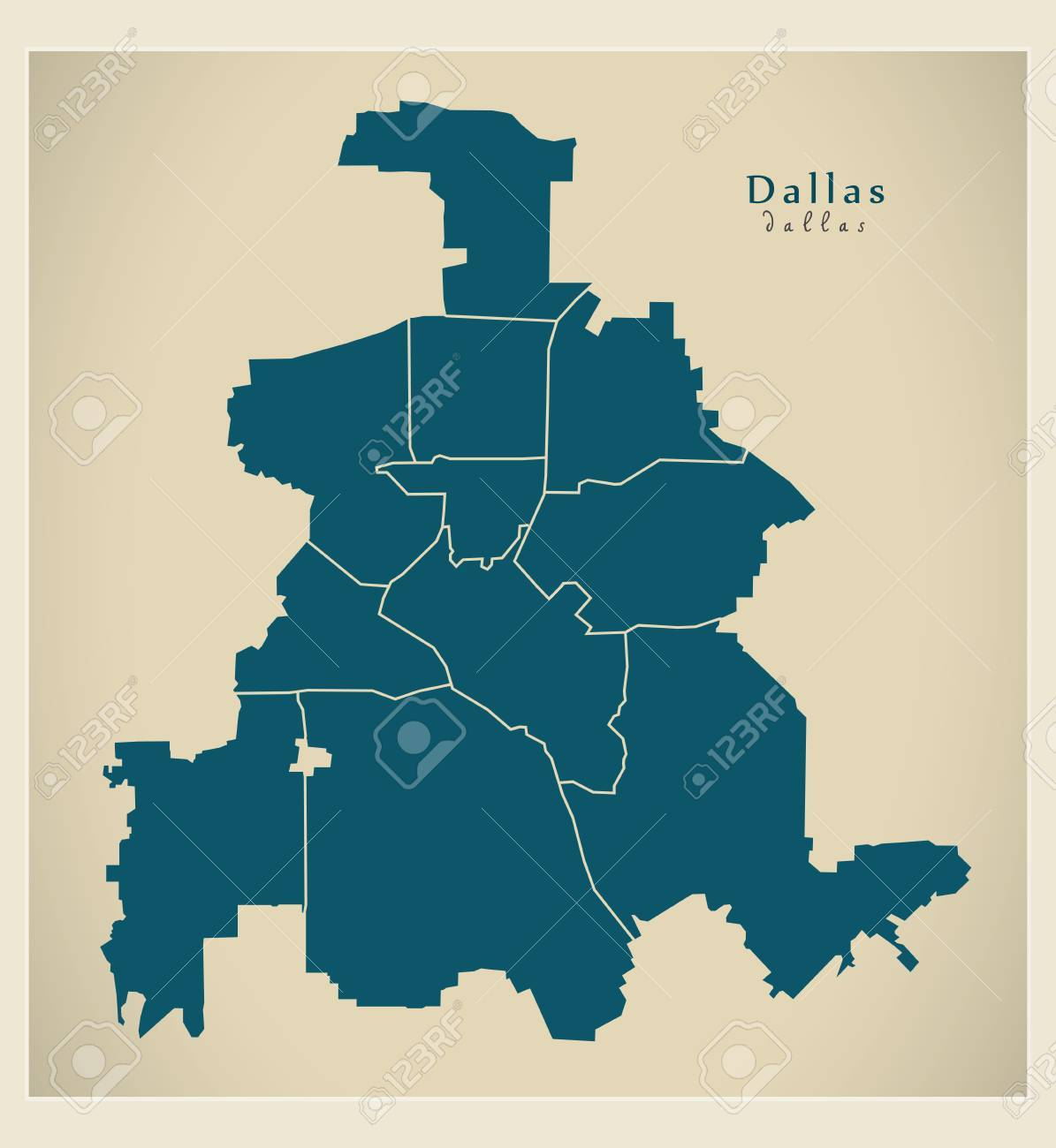 Modern City Map Dallas Texas City Of The Usa With Boroughs