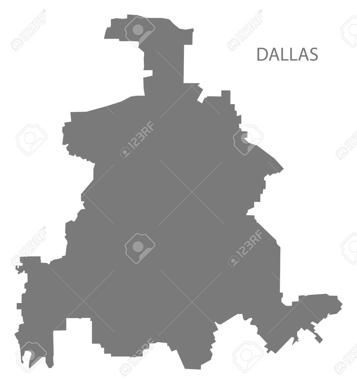 Map Of Texas City.Dallas Texas City Map Grey Illustration Silhouette Shape