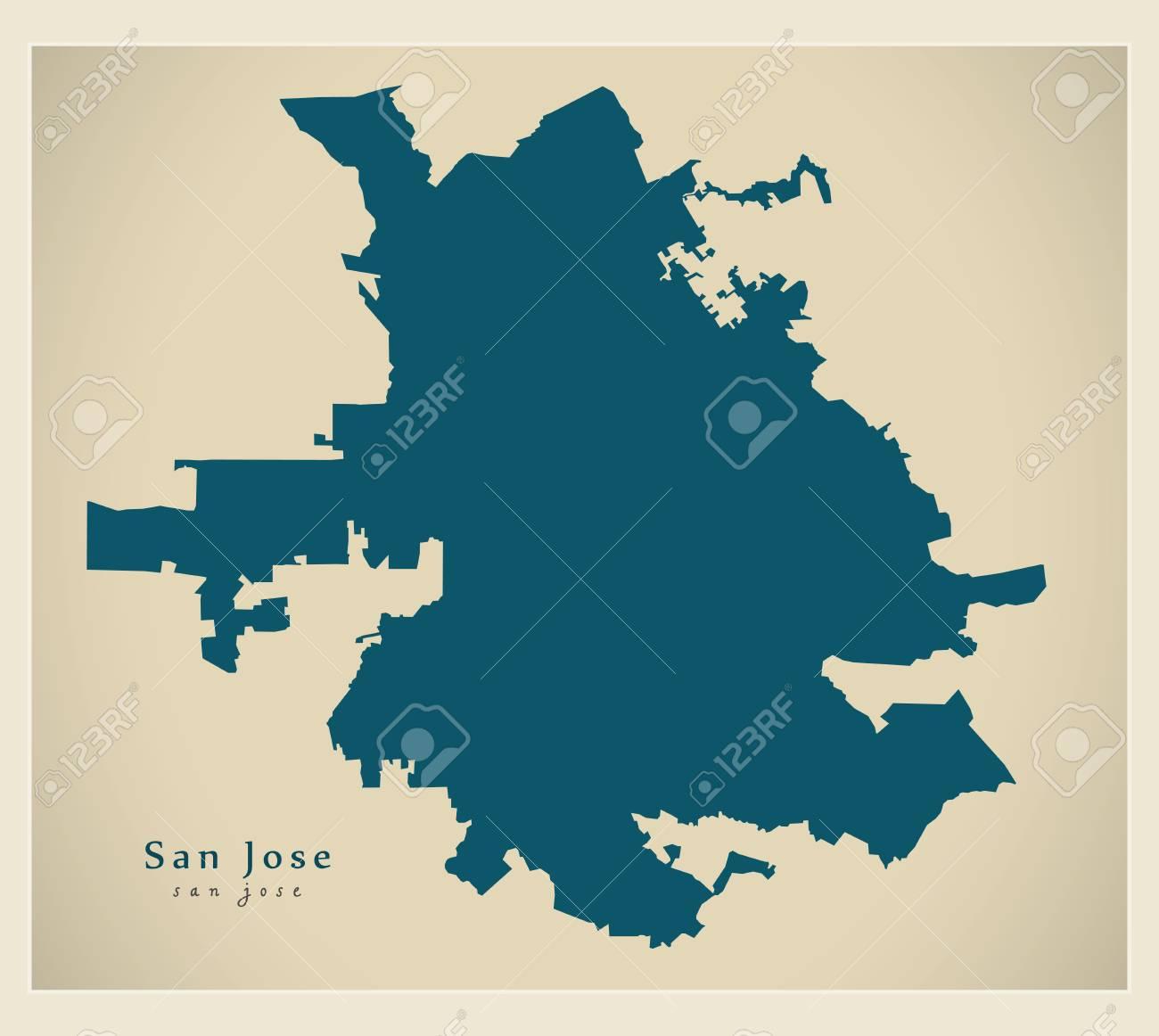 Modern Map - San Jose California USA city map on us states california cities, usa map los angeles, usa map san jose, usa map san diego, usa map oakland, usa map san francisco, usa map national city, usa map richmond, usa map sacramento, shapes california cities, zip code map california cities,