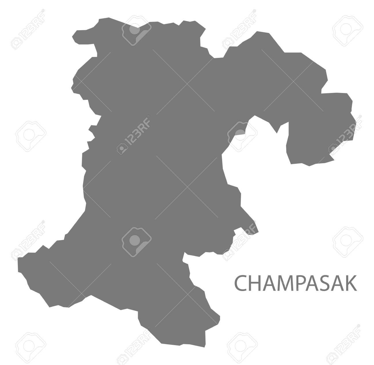 Champasak Province Map Of Laos Grey Illustration Silhouette Shape