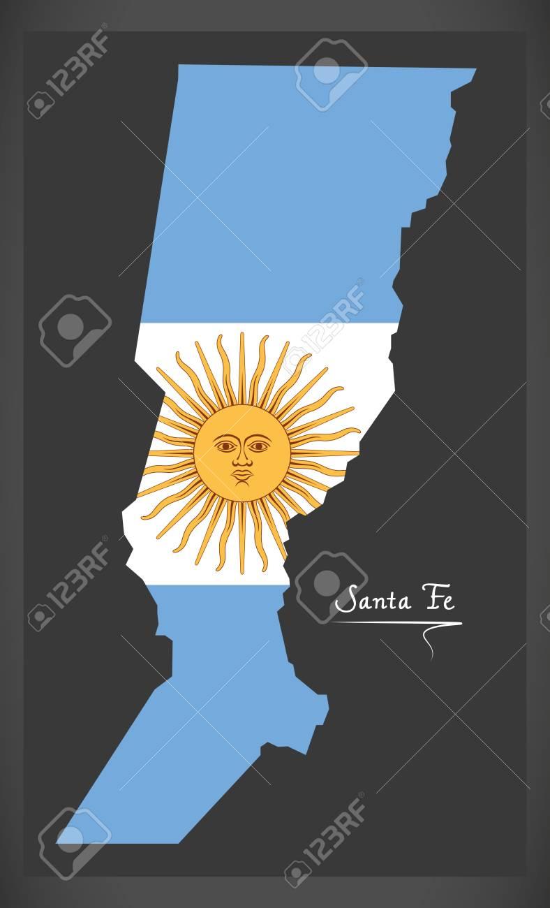 Mapa De Santa Fe De Argentina Con La Ilustración De La Bandera Nacional  Argentina. Ilustraciones Vectoriales, Clip Art Vectorizado Libre De  Derechos. Image 88499349.