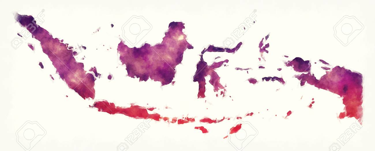 Indonesia watercolor map in front of a white background - 91369439