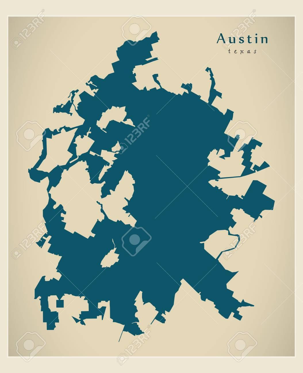 Map Of Texas City.Modern City Map Austin Texas City Of The Usa