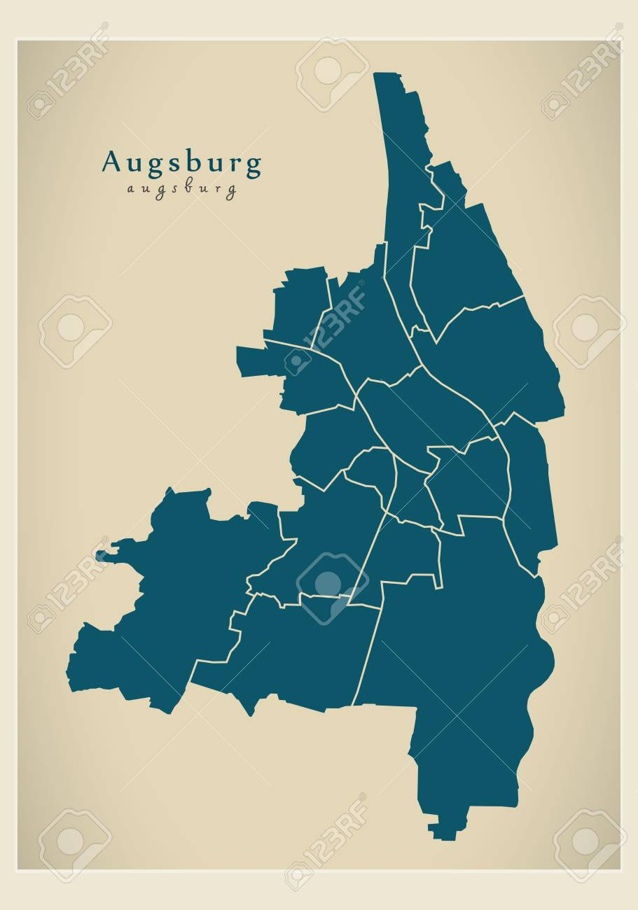 Modern City Map Augsburg City Of Germany With Boroughs De Royalty