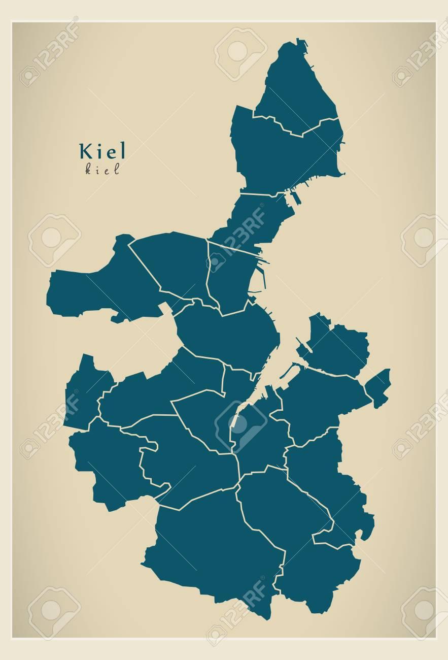 Modern City Map Kiel City Of Germany With Boroughs DE Illustration
