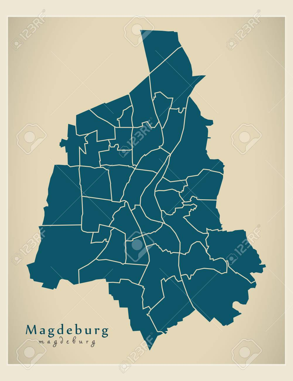 Modern City Map Magdeburg City Of Germany With Boroughs De Royalty