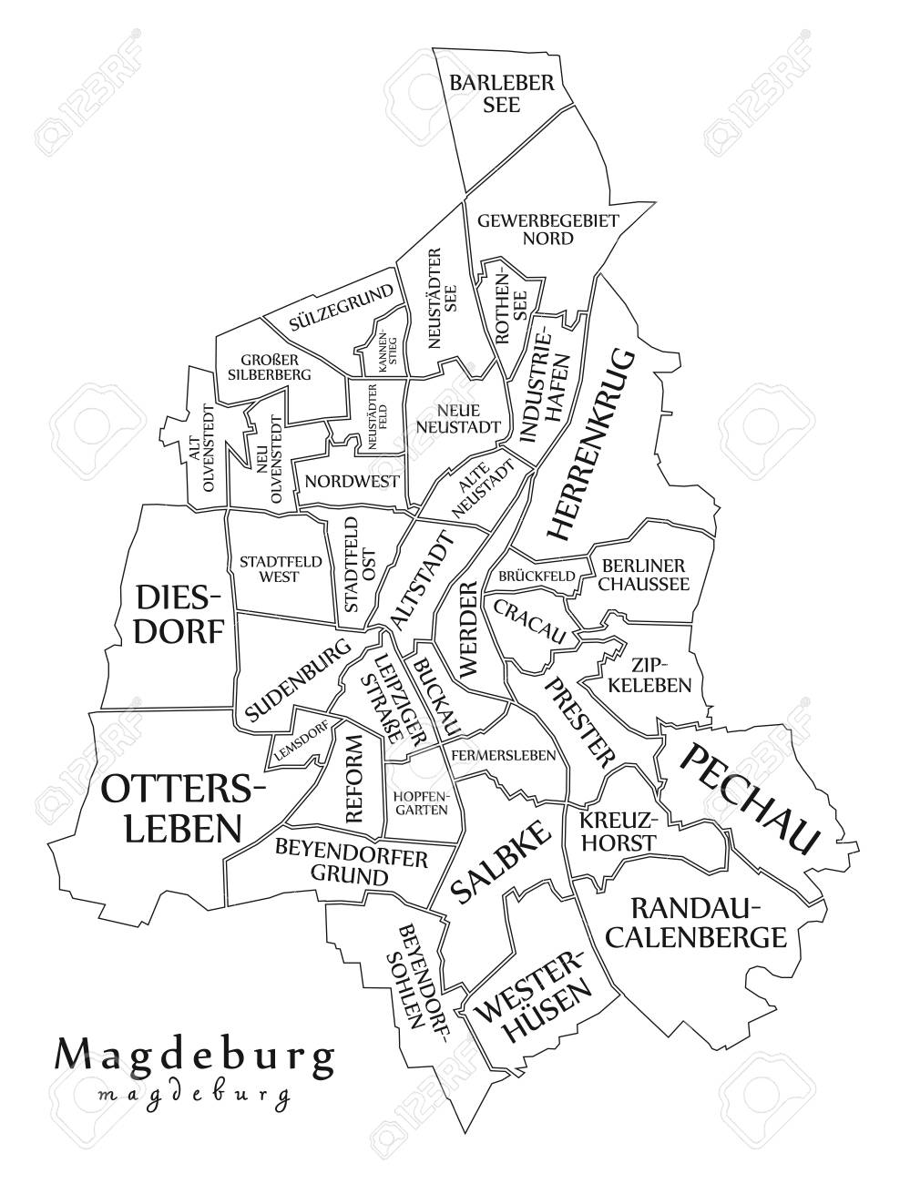 Modern City Map Magdeburg City Of Germany With Boroughs And