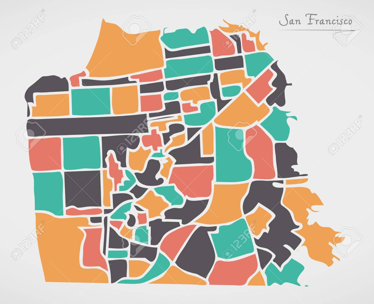 San Francisco Map With Neighborhoods And Modern Round Shapes Royalty