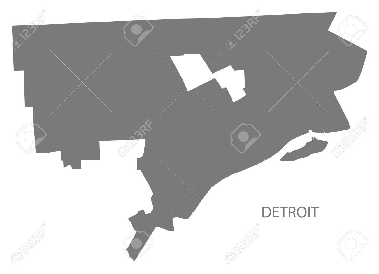 Detroit Michigan city map grey illustration silhouette shape