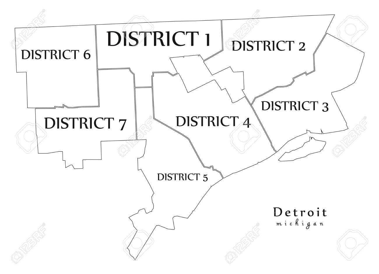 Modern City Map Detroit Michigan City Of The Usa With Districts
