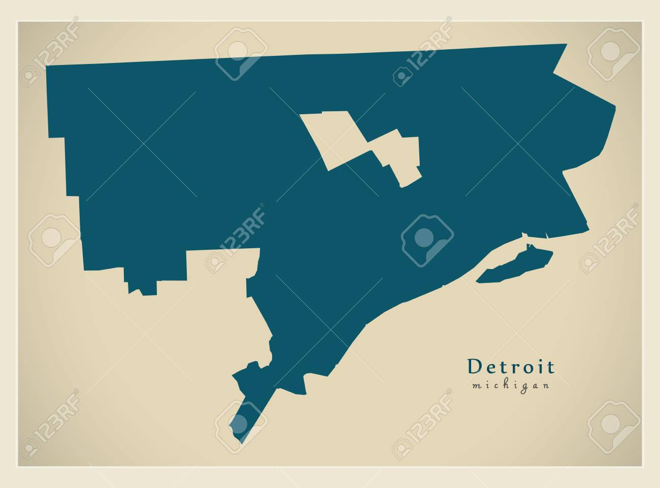 Detroit In Usa Map.Modern Map Detroit Michigan City Of The Usa Royalty Free Cliparts