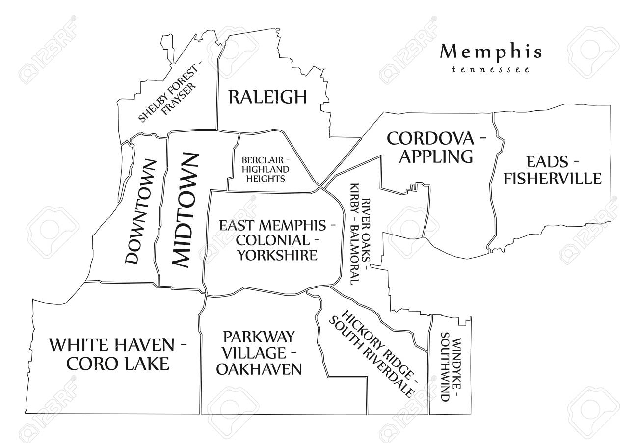 Modern city map Memphis Tennessee city of the USA with neighborhoods..