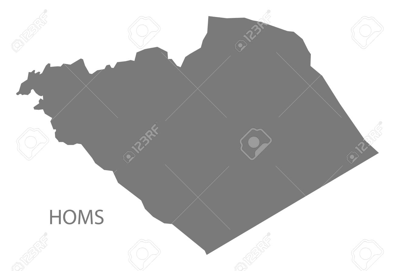 Homs Map Of Syria Grey Illustration Shape Royalty Free Cliparts