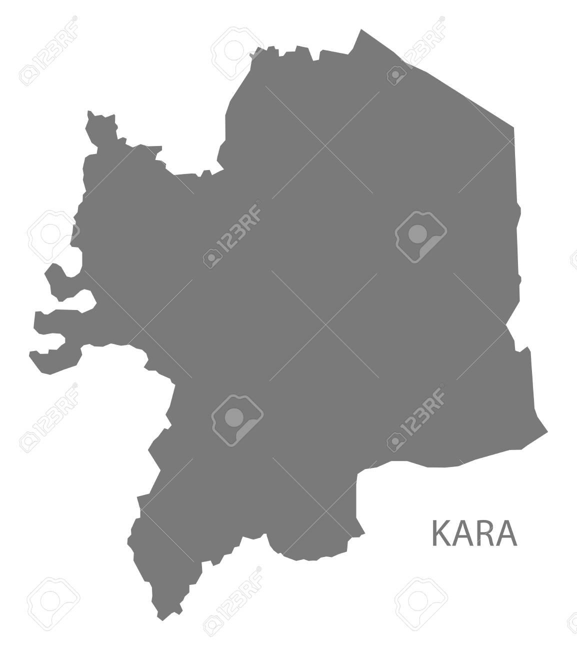 Kara map of Togo grey illustration shape