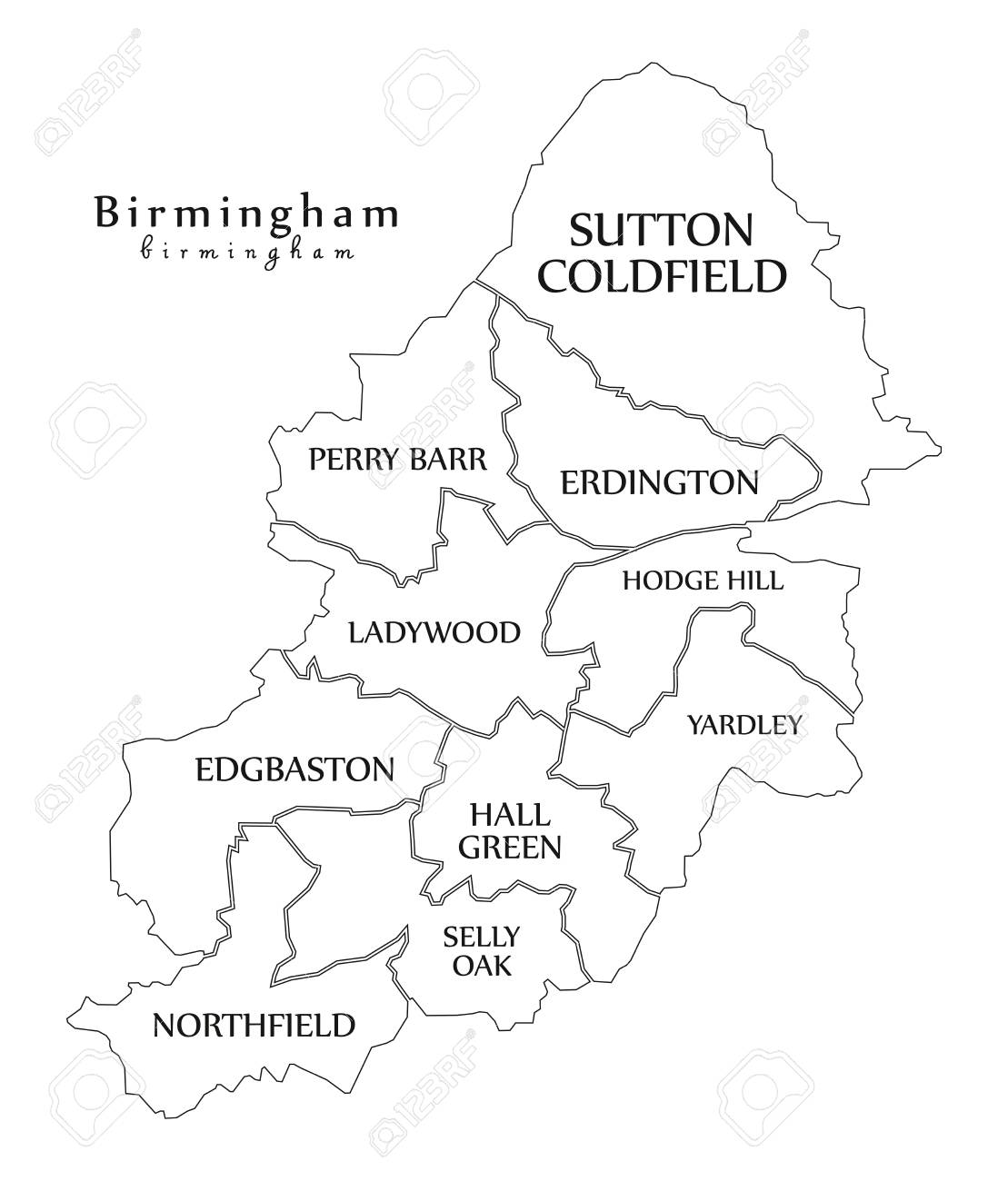 Map Of Birmingham England.Modern City Map Of Birmingham City Of England With Boroughs And
