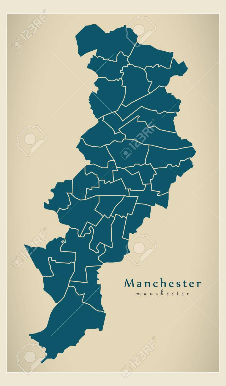 Manchester World Map.Modern City Map Of Manchester City Of England Royalty Free Cliparts