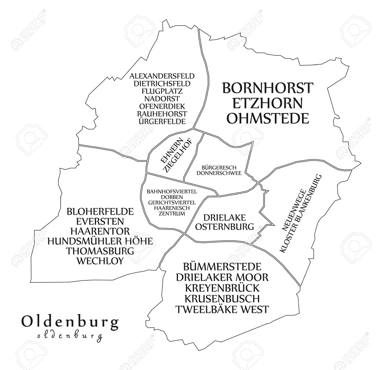 Outline Map Of Germany.Oldenburg City Of Germany With Boroughs And Titles Outline Map