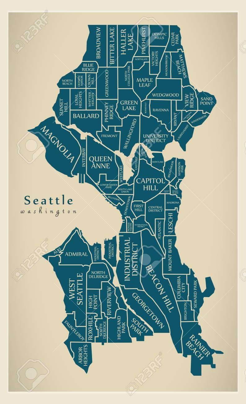 Modern City Map Seattle Washington City Of The Usa With