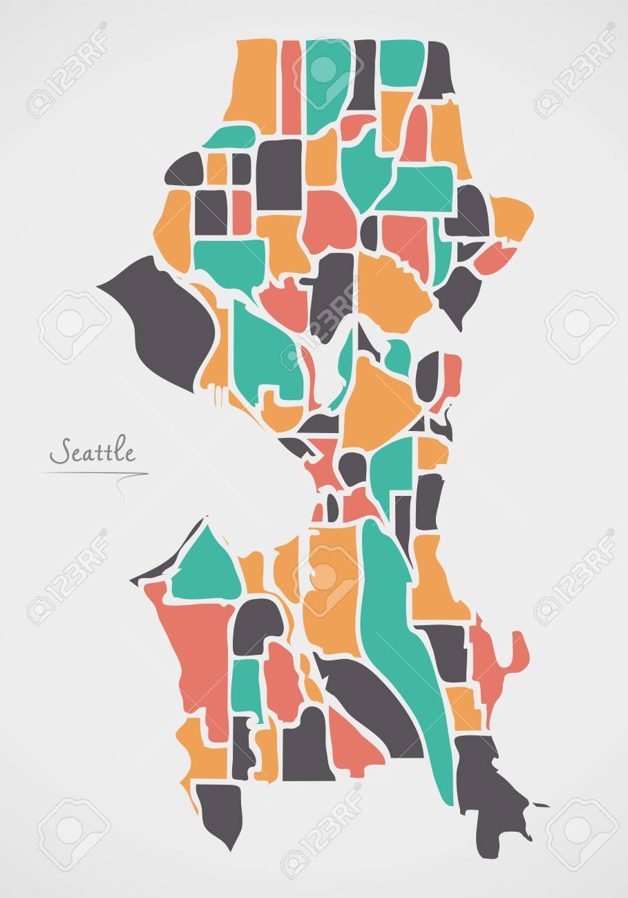 Seattle Washington Map With Neighborhoods And Modern Round Shapes