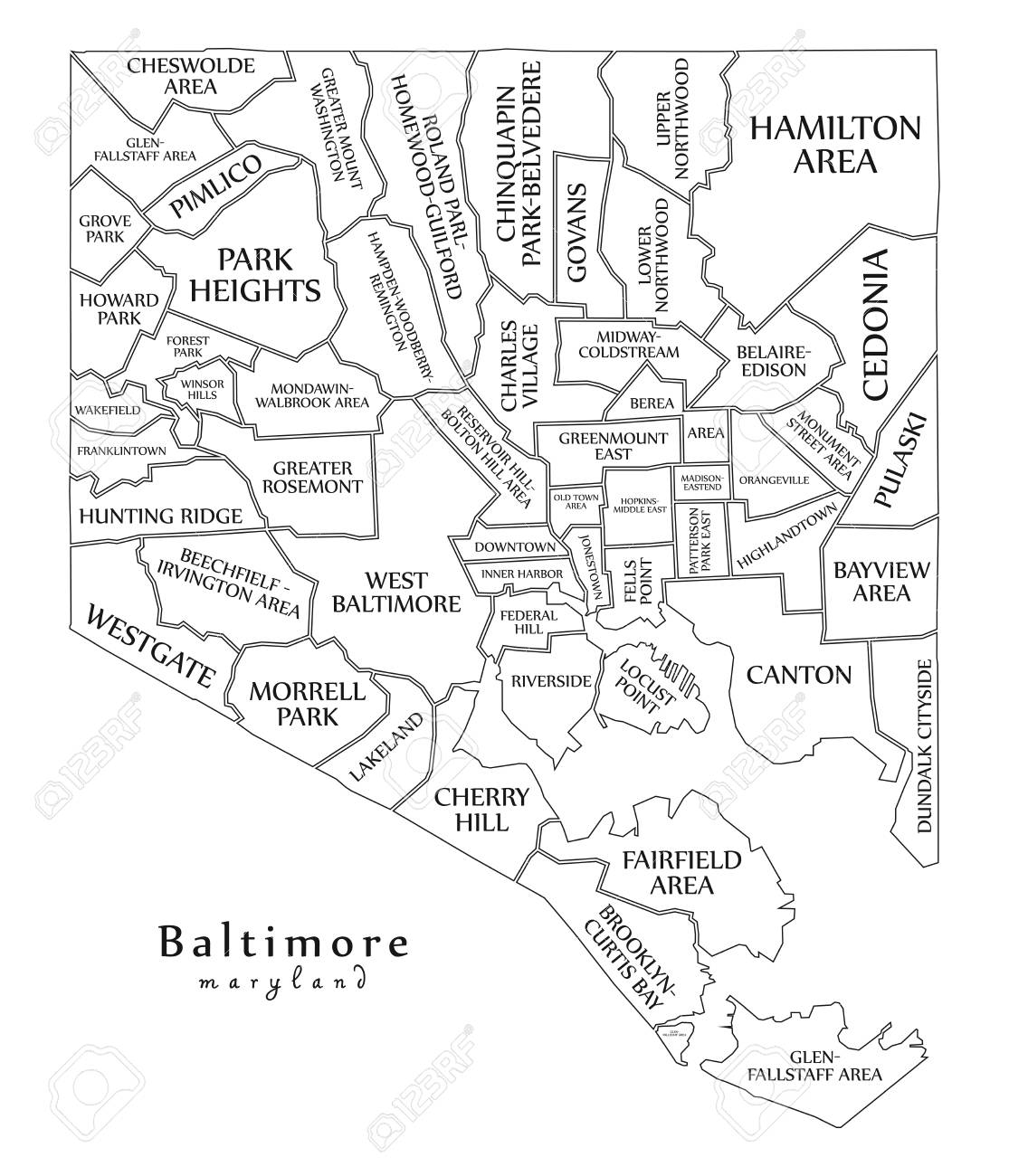 Modern City Map - Baltimore Maryland City Of The USA With ... on