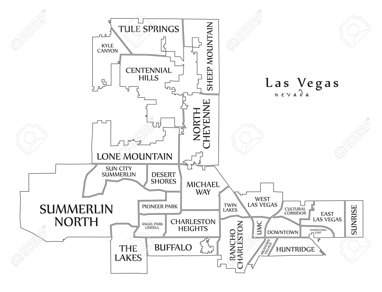 Modern City Map - Las Vegas Nevada City Of The USA With ...