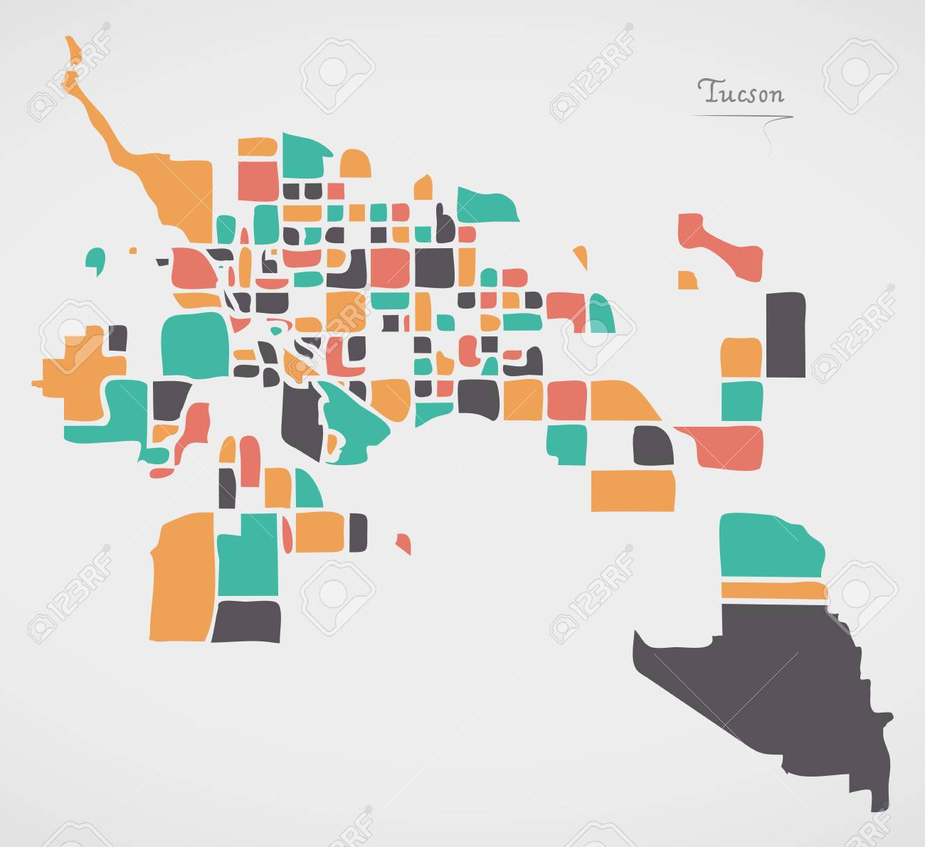 Tucson Arizona Map With Neighborhoods And Modern Round Shapes ...