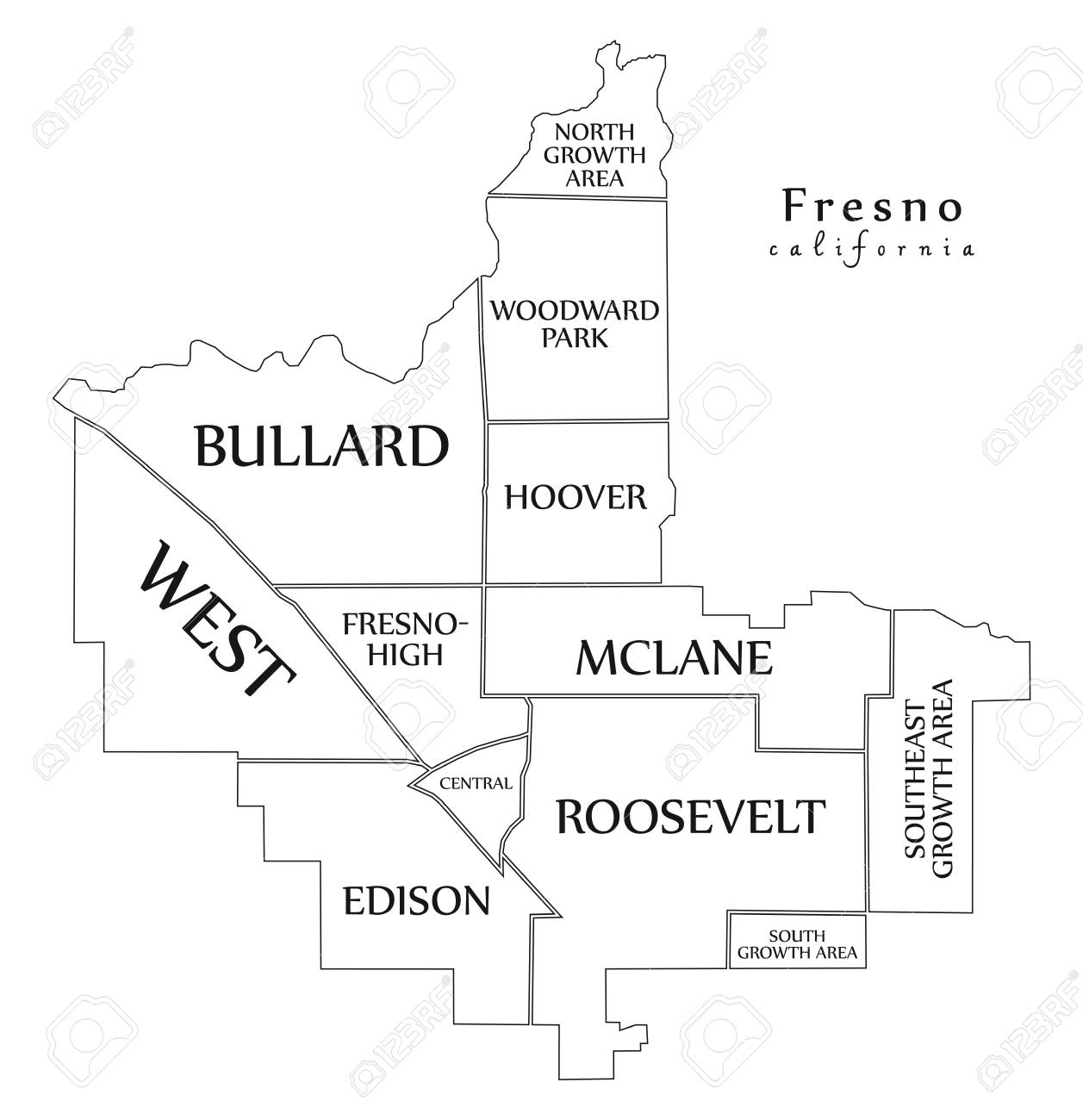 Modern City Map - Fresno California City Of The USA With ... on