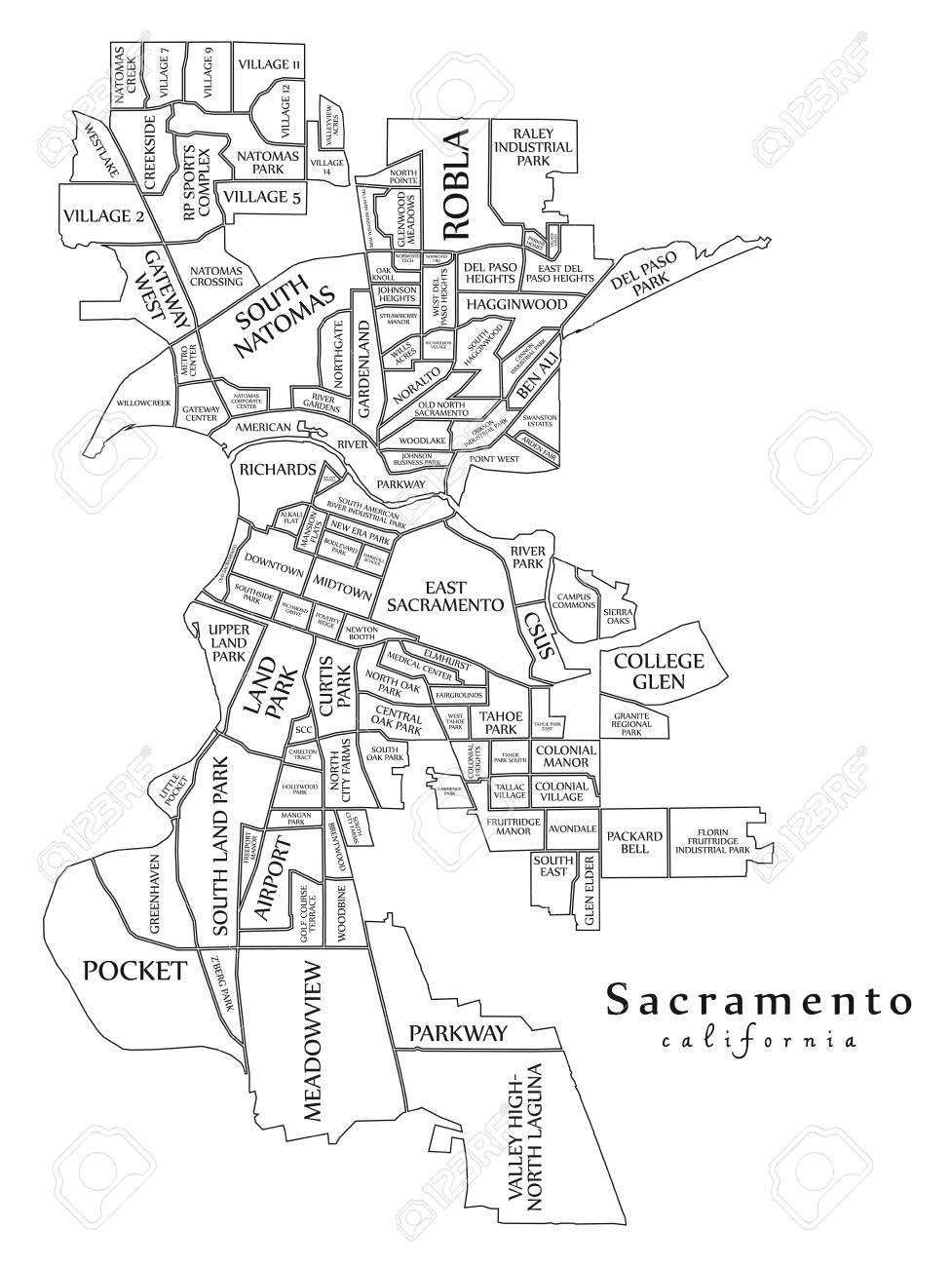 Modern City Map Sacramento California City Of The Usa With