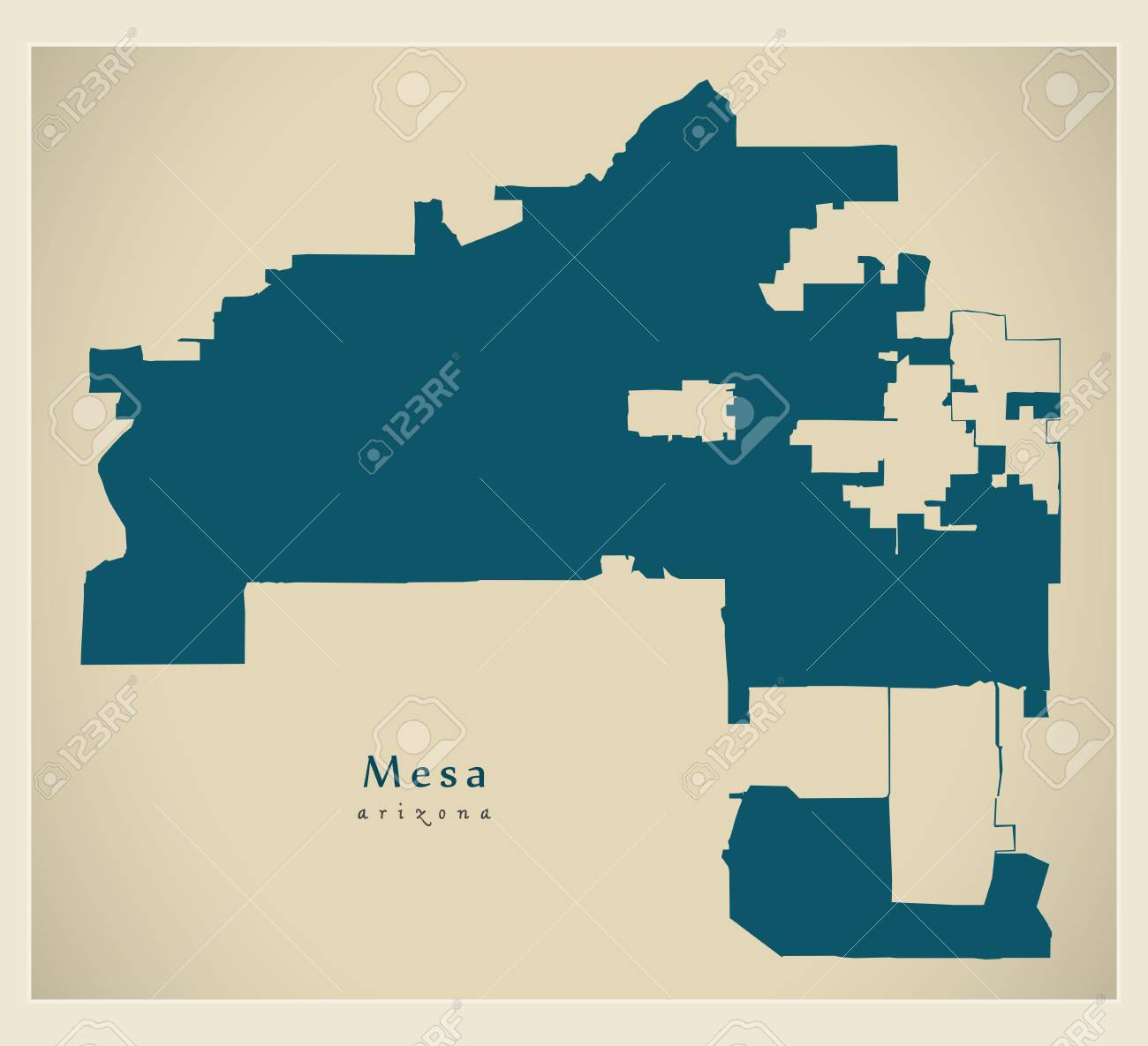 Modern City Map - Mesa Arizona city of the USA