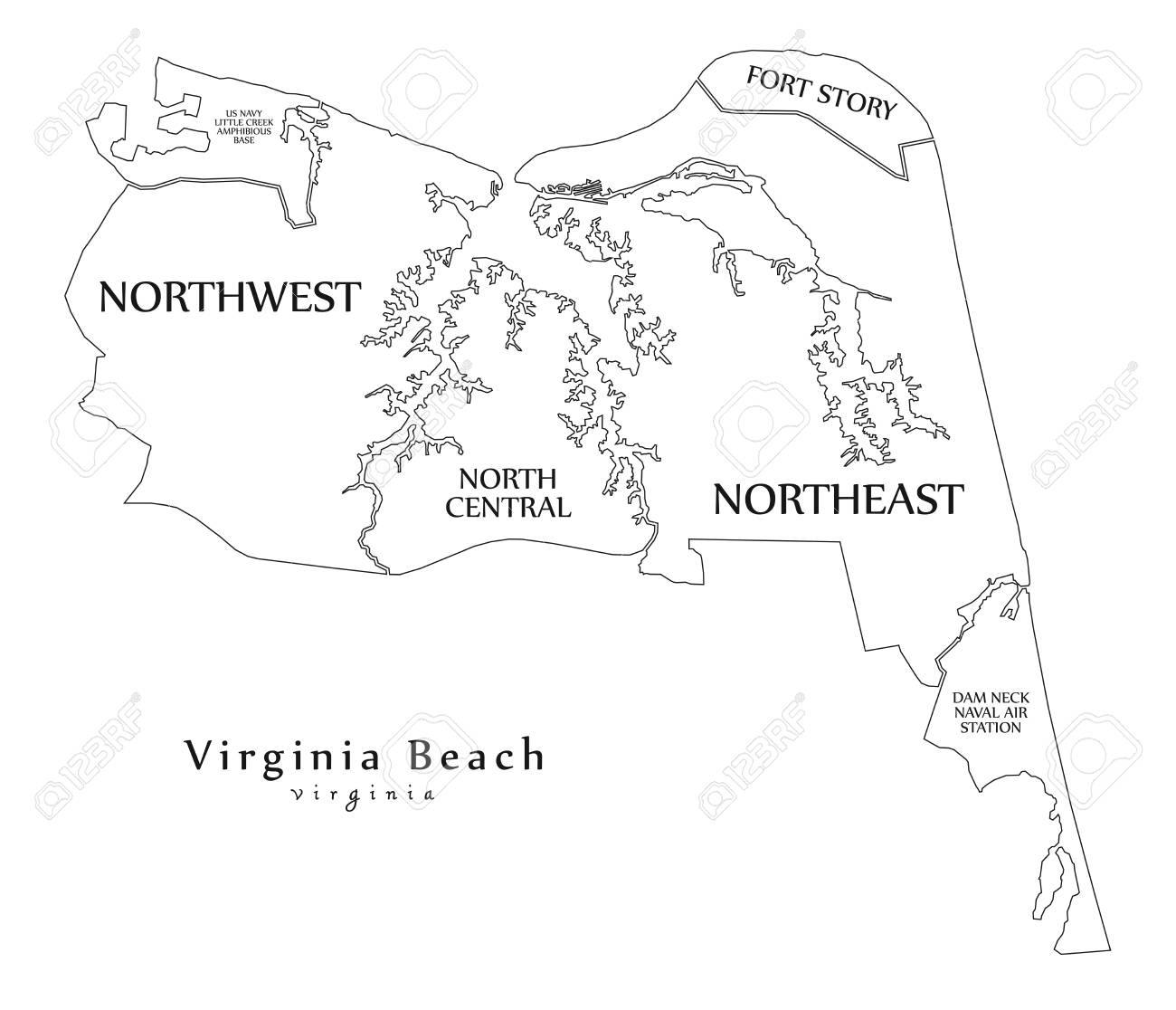 Modern City Map Virginia Beach Va City Of The Usa With