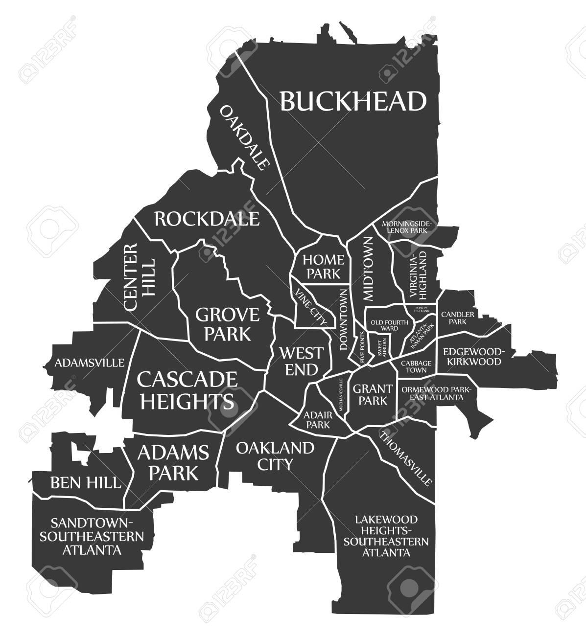 Atlanta Georgia city map USA labelled black illustration