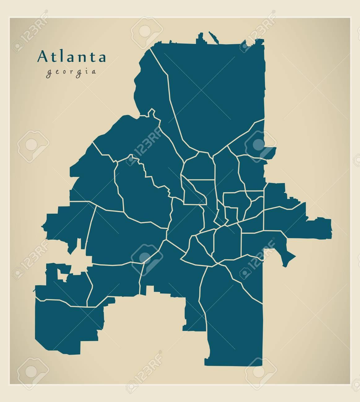 Where Is Atlanta Georgia On The Map Of Usa.Modern City Map Atlanta Georgia City Of The Usa With Neighborhoods