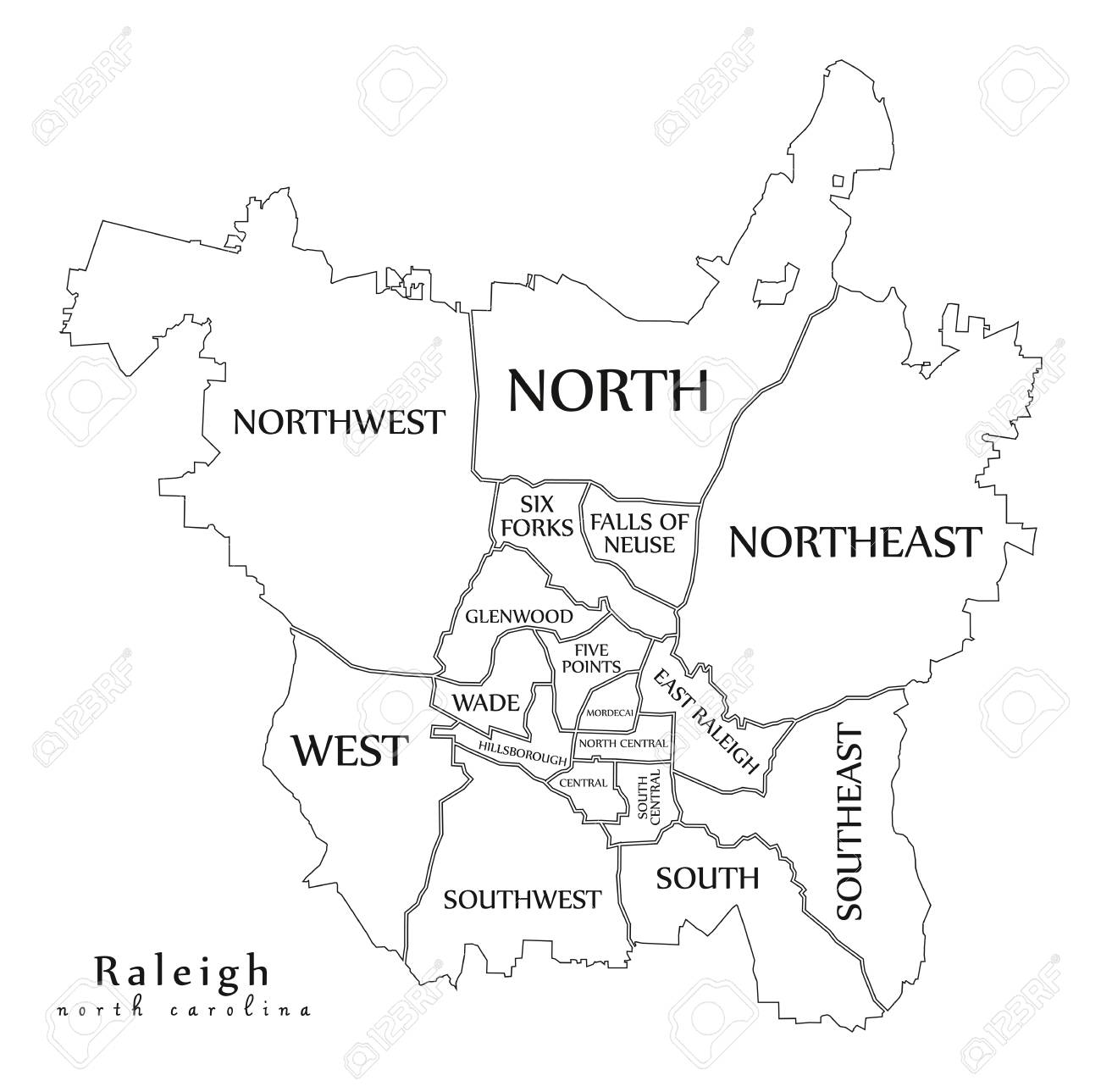 Modern City Map - Raleigh North Carolina city of the USA with..