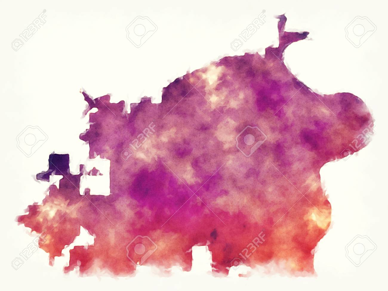 Omaha Nebraska City Watercolor Map In Front Of A White Background