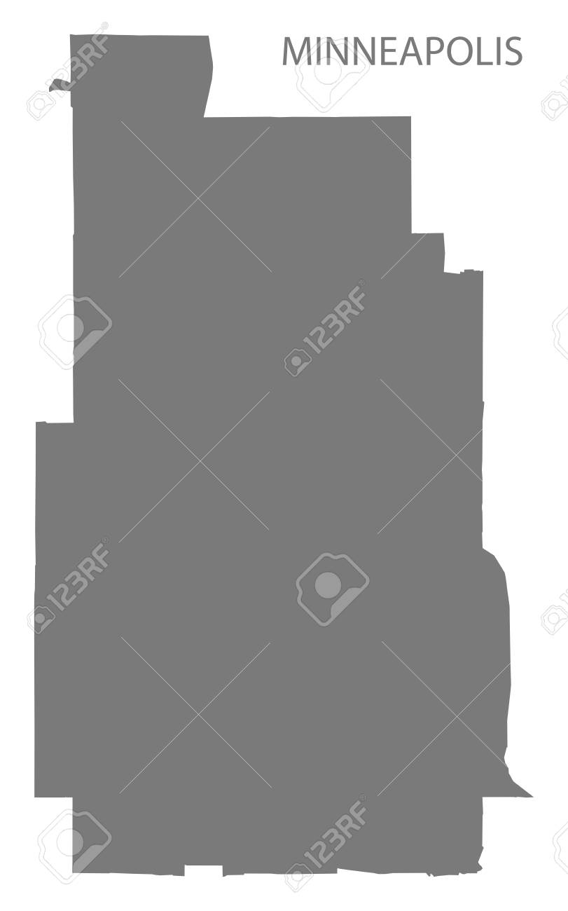 Minneapolis Minnesota City Map Grey Illustration Silhouette Shape