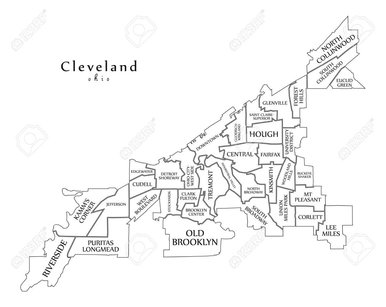 Modern City Map - Cleveland Ohio City Of The USA With Neighborhoods on