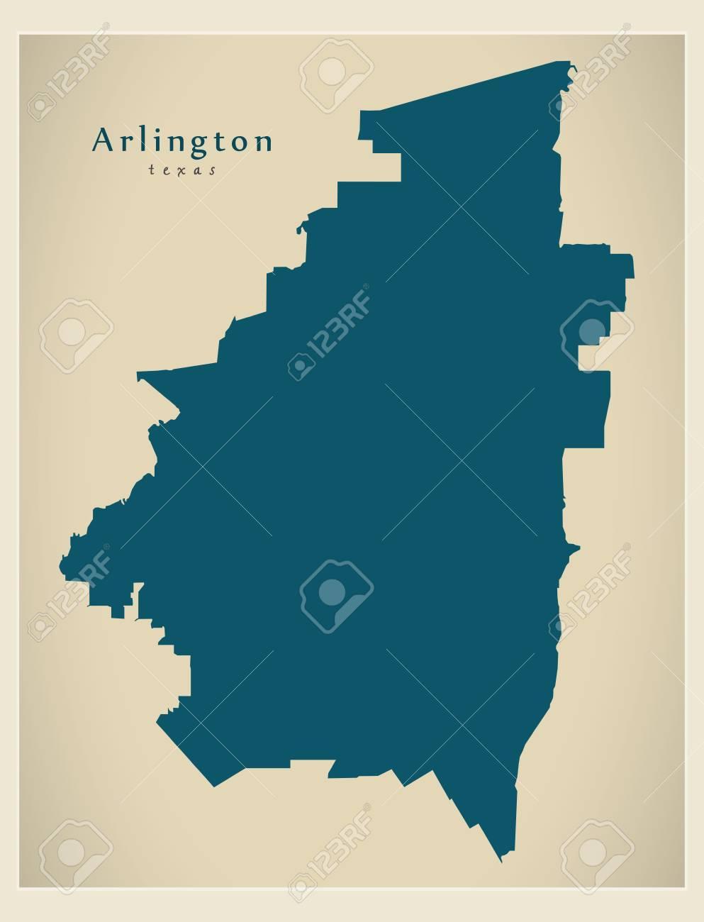 Modern City Map Arlington Texas City Of The Usa Royalty Free