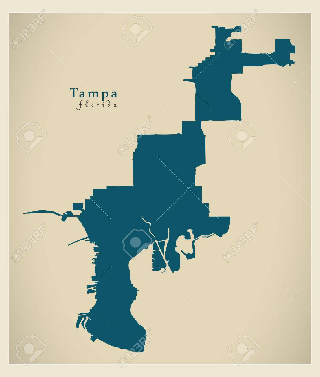 Map Of Florida By City.Modern City Map Tampa Florida City Of The Usa Royalty Free