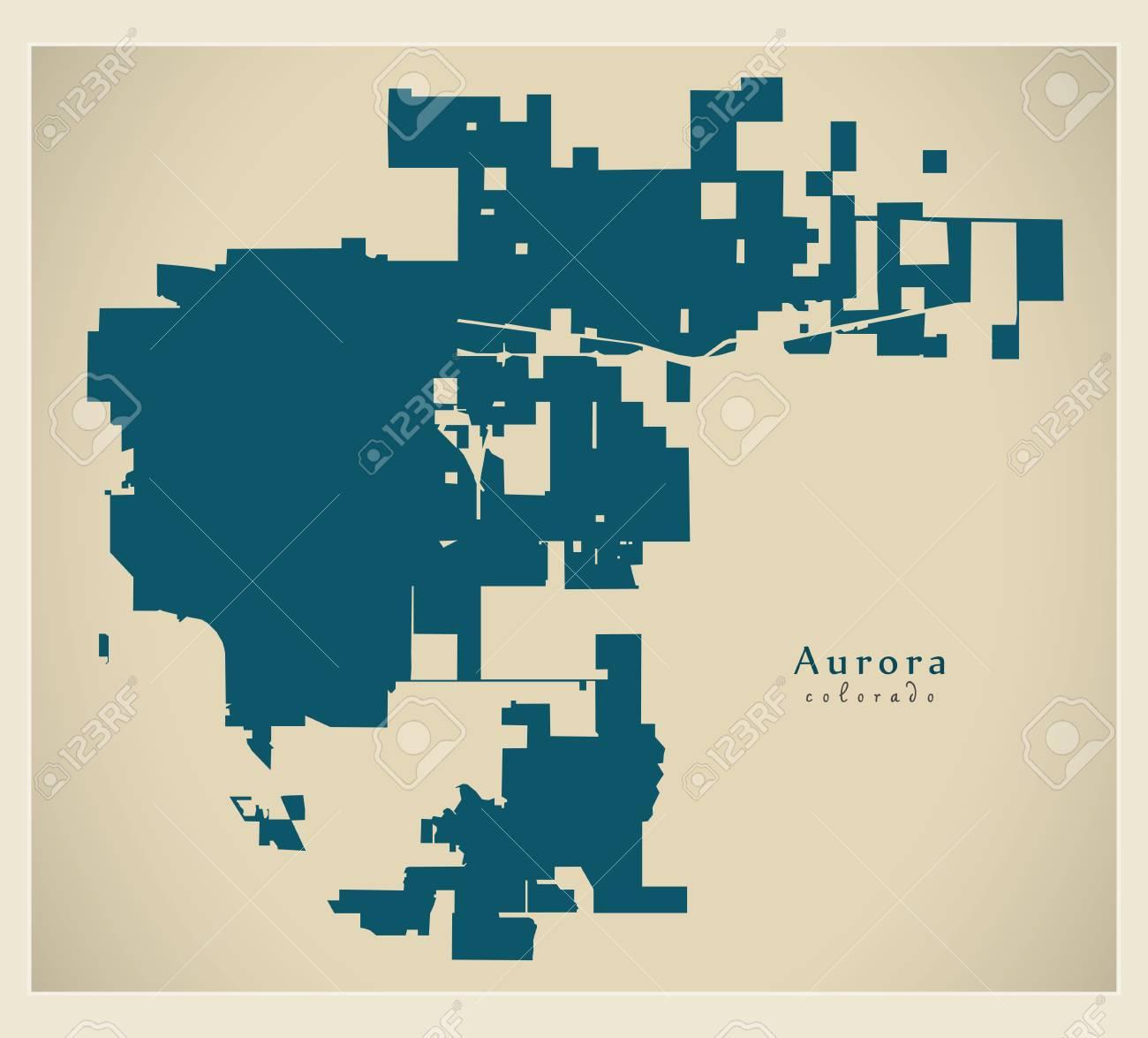 Modern City Map - Aurora Colorado City Of The USA Royalty Free ... on