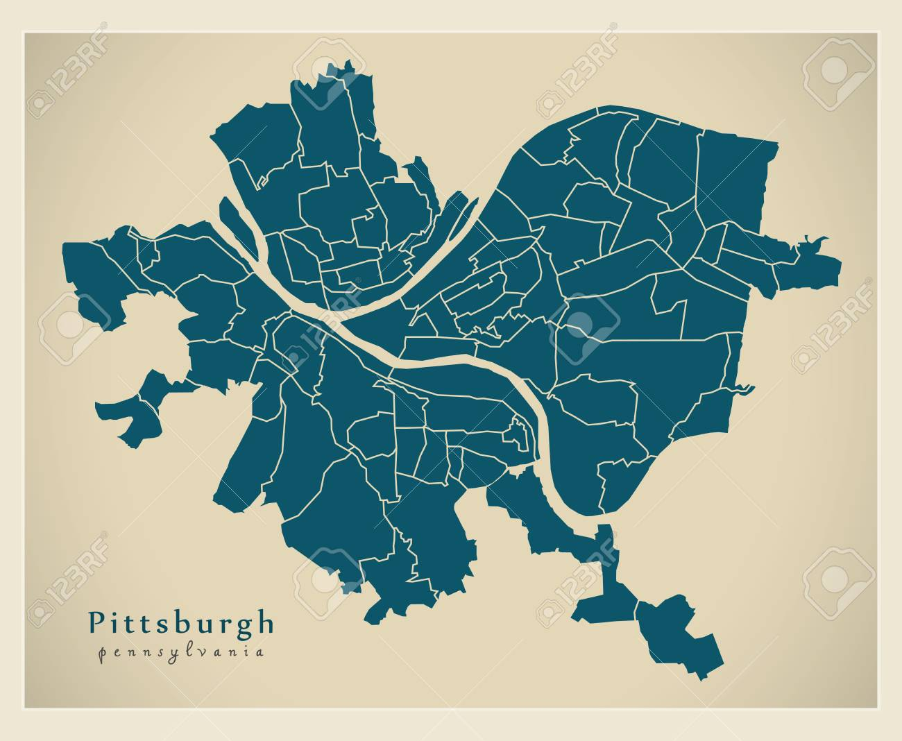 Modern City Map - Pittsburgh Pennsylvania city of the USA with.. on fremont on world map, sun belt on world map, key west on world map, aswan on world map, montreal on world map, san fransisco on world map, omaha on world map, ithaca on world map, nebraska on world map, all cities on world map, donetsk on world map, los angeles on world map, norfolk on world map, aurora on world map, peninsula on world map, salt lake city on world map, dar es salaam on world map, northern mariana islands on world map, dc on world map, golden gate bridge on world map,