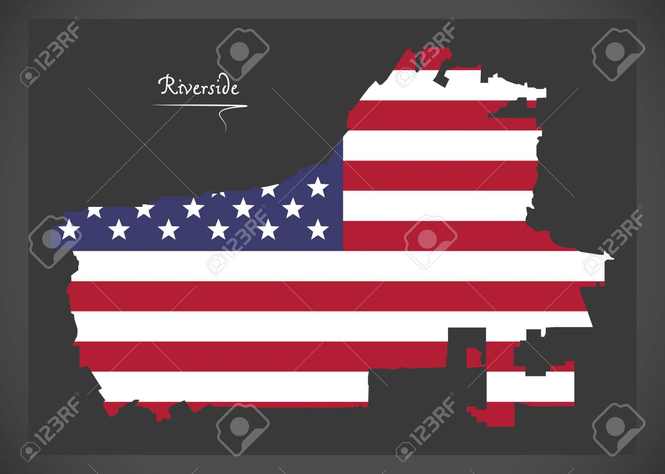 Riverside California Map With American National Flag Illustration ...