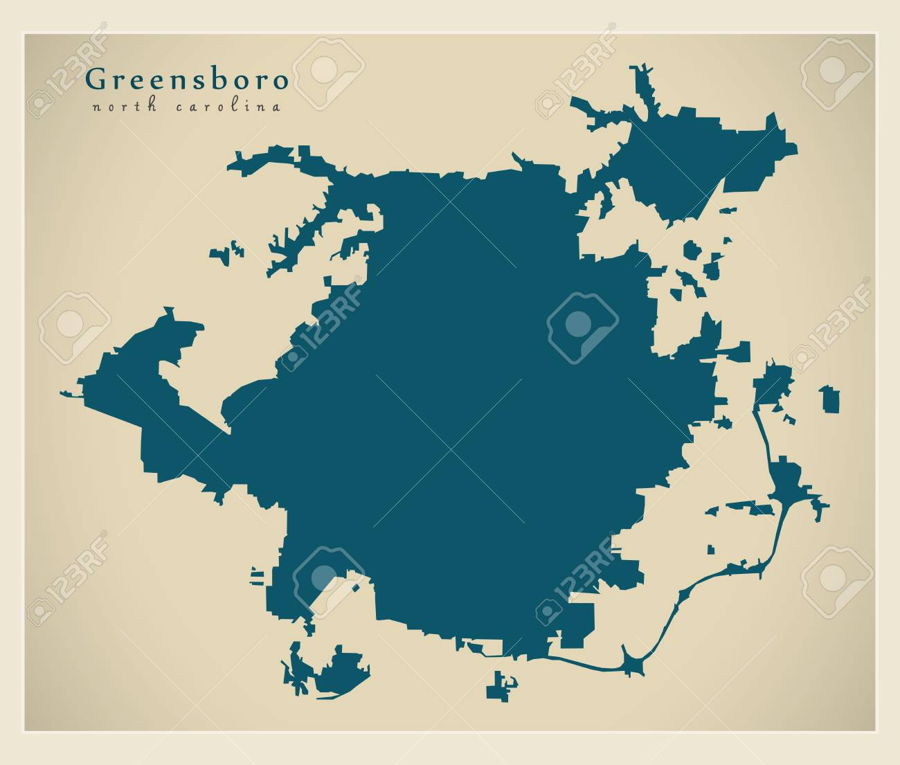 Modern City Map - Greensboro North Carolina City Of The USA ...