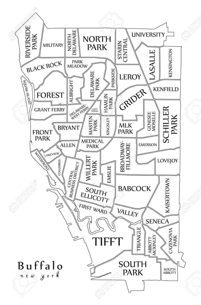 Modern City Map Buffalo New York City Of The Usa With
