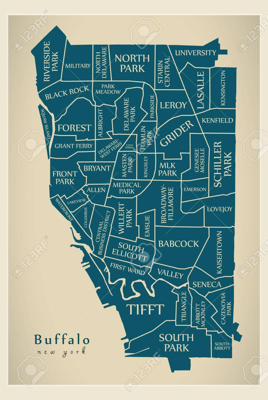 Modern City Map - Buffalo New York City Of The USA With ... on