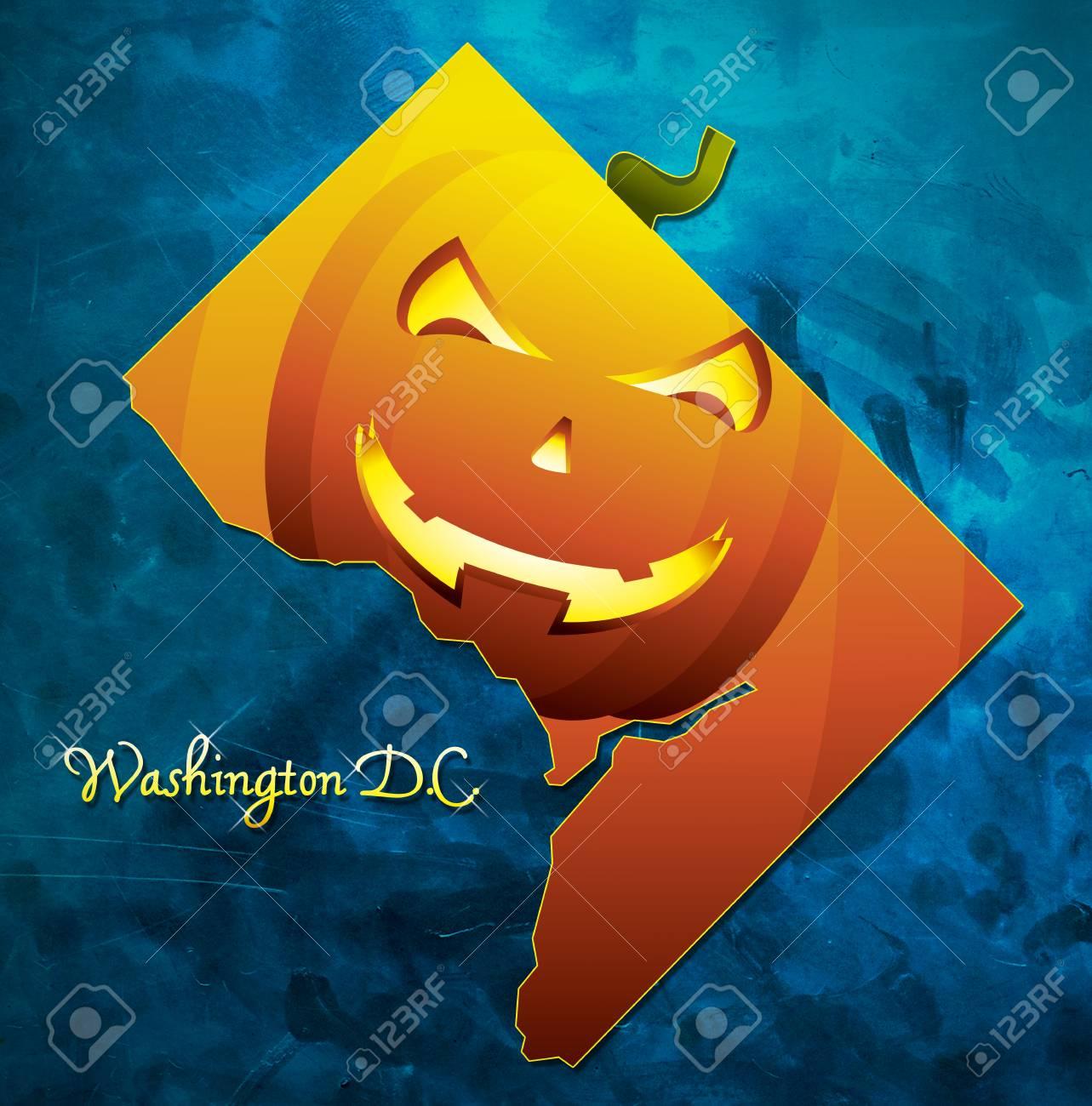 Washington DC State Map USA With Halloween Pumpkin Face Illustration ...
